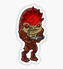 Mass Effect - Urdnot Wrex Krogan with Shotgun Chibi Sticker Sticker