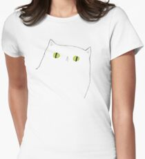 White Cat Face Womens Fitted T-Shirt