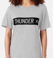 Thunder Road street sign Slim Fit T-Shirt