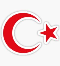 Turkish Crescent Moon Star Flag National Turkey Symbols Sticker T-Shirt Duvet Sticker