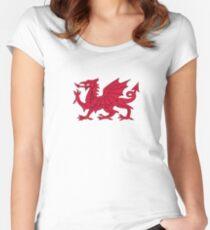 Red Welsh Dragon - Flag of Wales - Sport T-Shirt Sticker Bedspread Duvet Women's Fitted Scoop T-Shirt