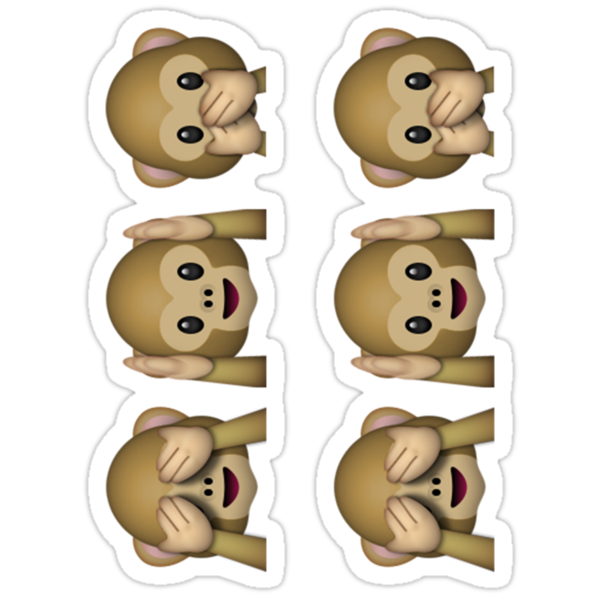 see no evil hear no evil speak no evil emoji sticker von emoji redbubble. Black Bedroom Furniture Sets. Home Design Ideas