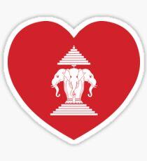 Laotian Erawan 3 Headed Elephant Heart Flag Sticker
