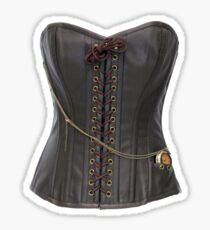 Steampunk Brown Leather Corset Sticker