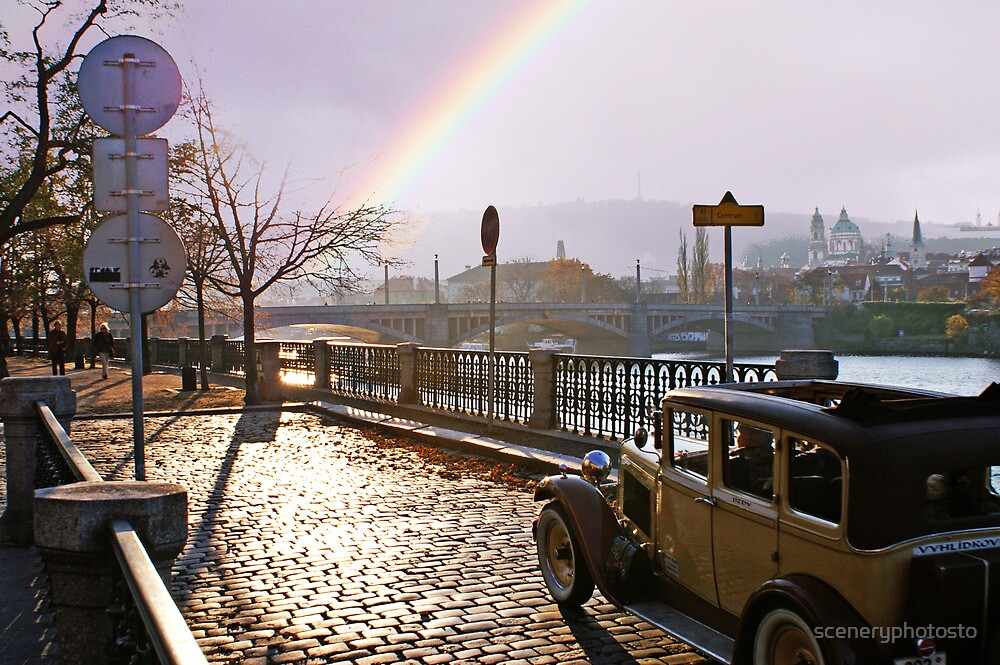 Automobile and Rainbow in Prague by sceneryphotosto