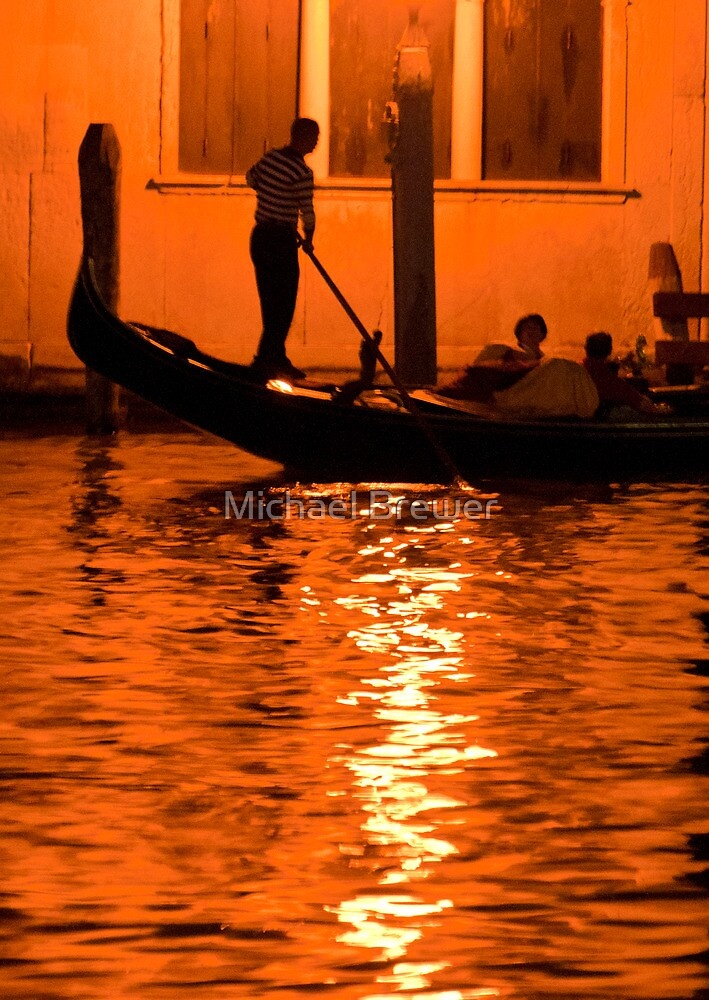Gondolier under a lantern a night by Michael Brewer