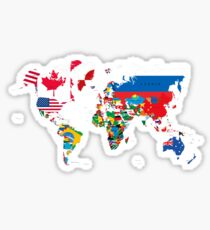Traveler World Map Flags  Sticker