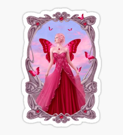 Ruby Birthstone Fairy Sticker