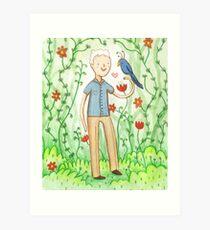 Sir David Attenborough & a Parrot Art Print