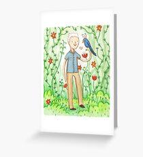 Sir David Attenborough & a Parrot Greeting Card