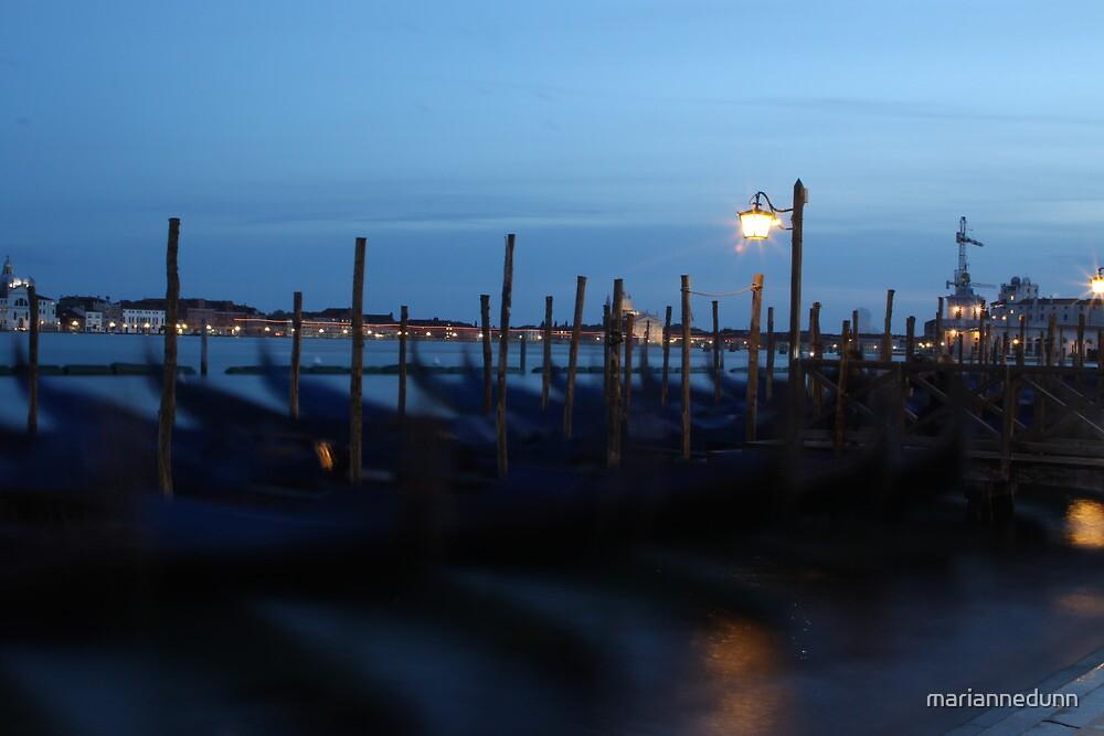Gondolas in Venice by mariannedunn