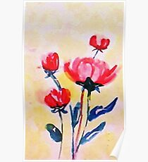 Royal Pink roses. watercolor Poster