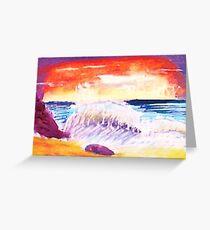 Sunsetting over crashing waves Greeting Card