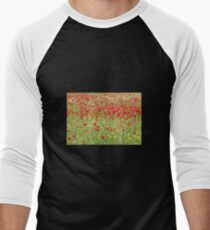 Meadow With Beautiful Bright Red Poppy Flowers Men's Baseball ¾ T-Shirt