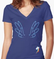 Rainbow Dash Wings & Cutie Mark Women's Fitted V-Neck T-Shirt