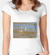 Seagull  landing  Women's Fitted Scoop T-Shirt