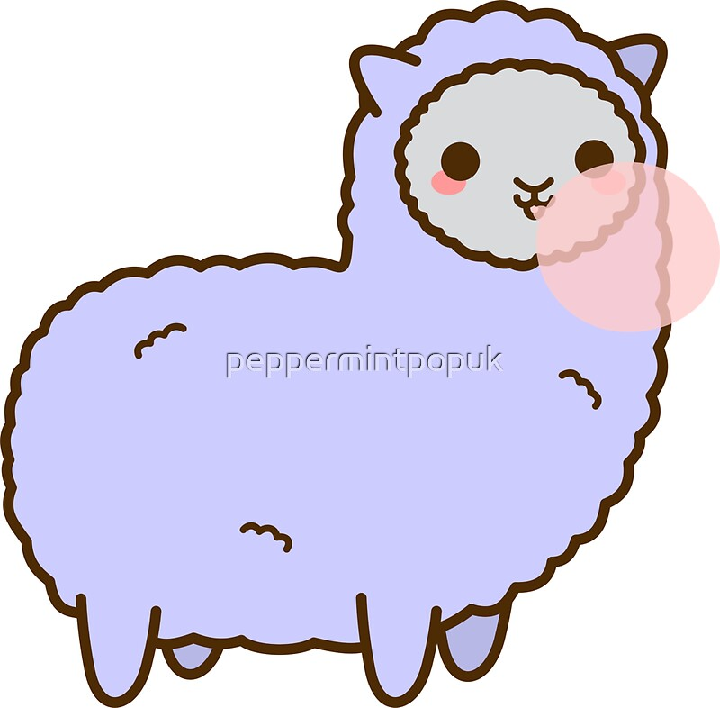 """Kawaii Alpaca Blowing Bubble Gum"" Stickers by ..."