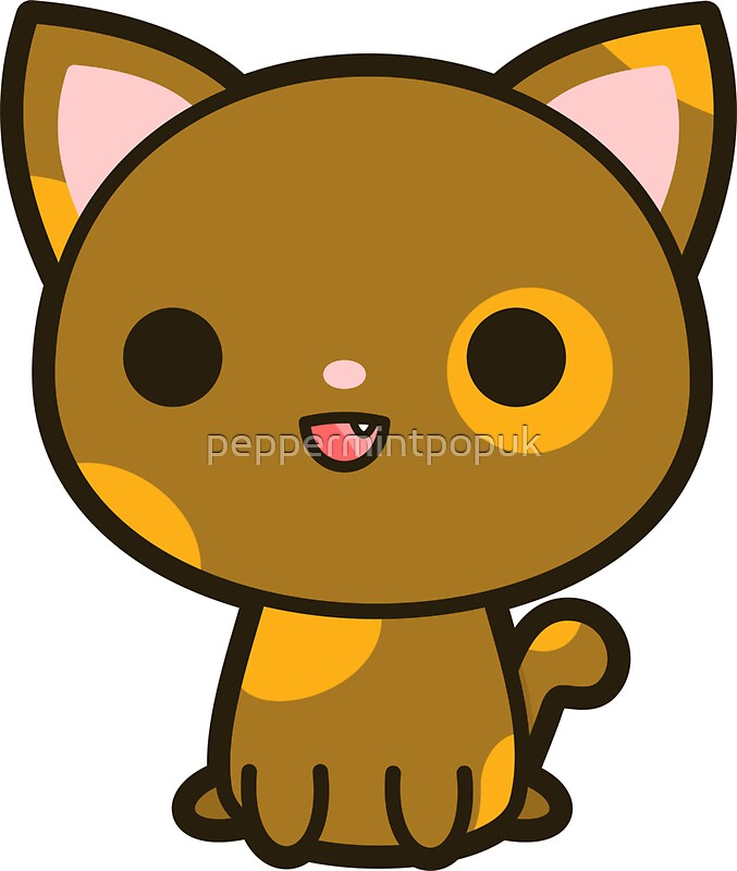 Quot Kawaii Brown And Ginger Cat Quot Stickers By Peppermintpopuk