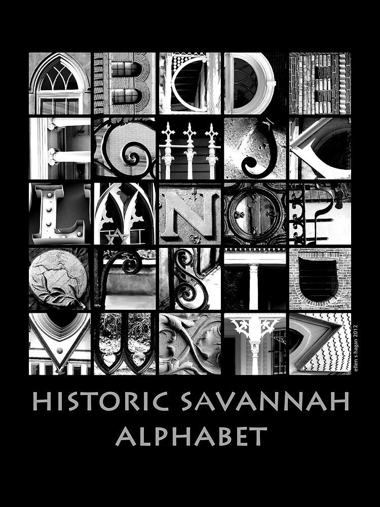 Savannah Alphabet - Black and White by Ellen  Hagan