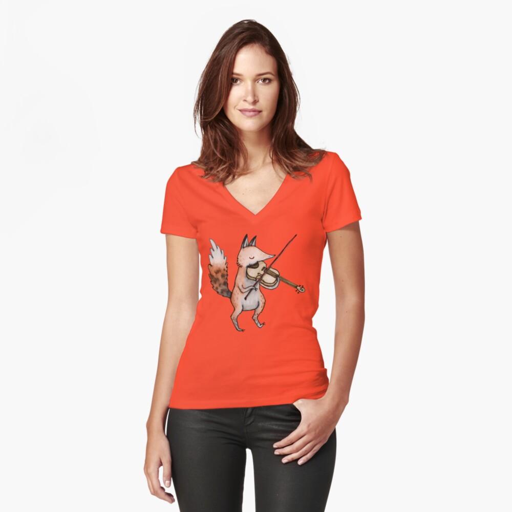 Violin Fox Fitted V-Neck T-Shirt