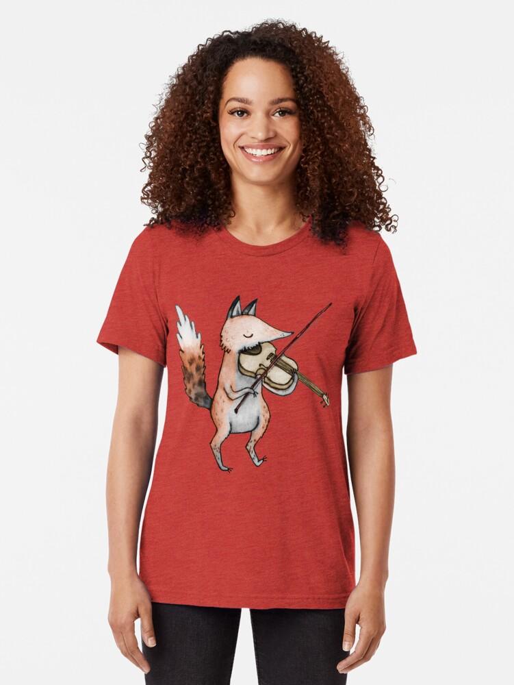 Alternate view of Violin Fox Tri-blend T-Shirt