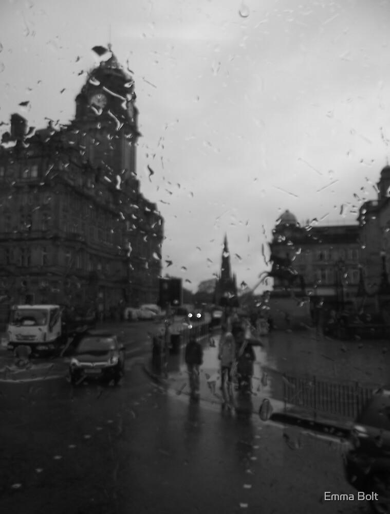 Blury and Rainy Edinburgh Through a Window by Emma Bolt