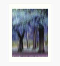 Group of Trees in Motion - blue Art Print