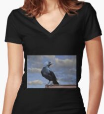 Majestic Jackdaw. Women's Fitted V-Neck T-Shirt