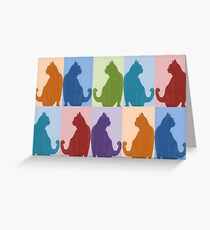 Silhouette Cat Collage Pattern New Media Art Greeting Card