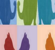 Silhouette Cat Collage Pattern New Media Art Sticker