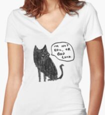 Black Cats Aren't Evil Women's Fitted V-Neck T-Shirt