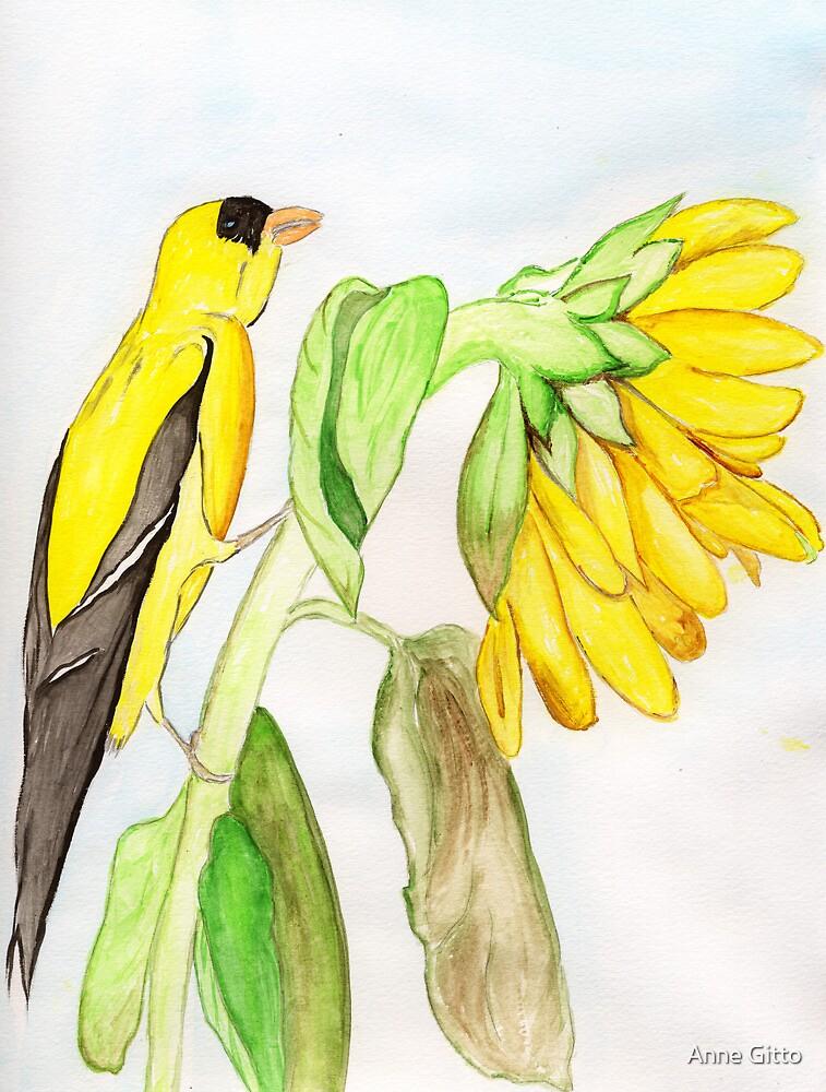 Yellow Bird & a Sunflower by Anne Gitto