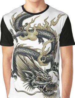 Lucky Chinese Dragon In Grey and Gold Graphic T-Shirt