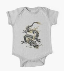 Lucky Chinese Dragon In Grey and Gold One Piece - Short Sleeve