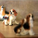 Beagles in a Row by Peggy Berger
