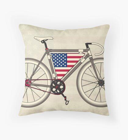 Love Bike, Love America Throw Pillow