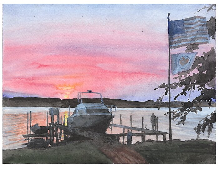 Boat sunset watercolor by Mike Theuer