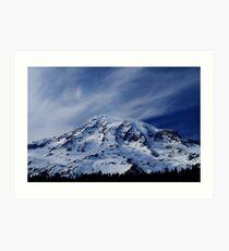 Rainier with wispy clouds Art Print