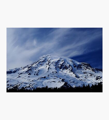 Rainier with wispy clouds Photographic Print
