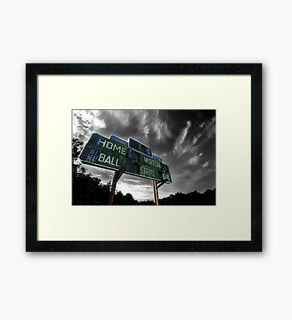 Old Baseball Scoreboard - The Diamond- Greenham Framed Print