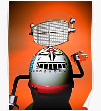 Retro Cropped Toy Robot 03 Poster