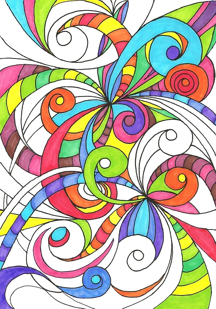 Floral Doodle Drawing by MEDUSA GraphicART