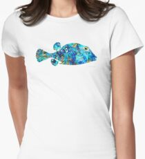 Blue Puffer Fish Art by Sharon Cummings Women's Fitted T-Shirt