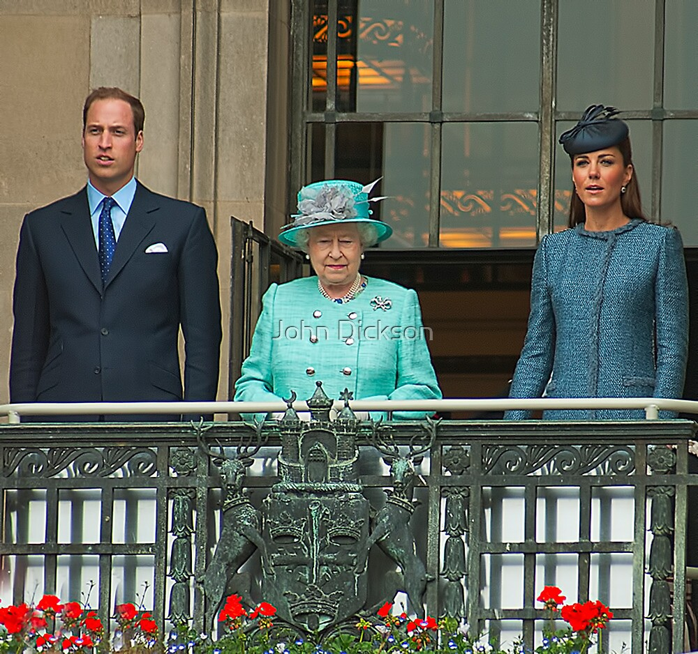 The Queen And The Duke And Duchess Cambridge by John Dickson