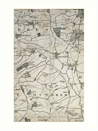 Old Northamptonshire map - Kettering and Rothwell\