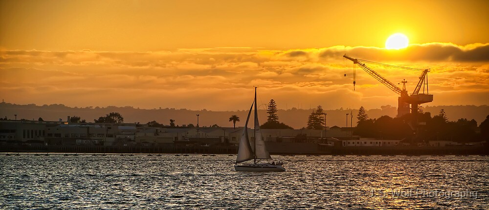 Sunset Sailing by jswolfphoto