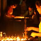 Butter Lamps at Night Boudha Stupa by SerenaB