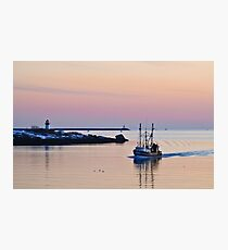 Returning from Sea on a Winter's Night Photographic Print
