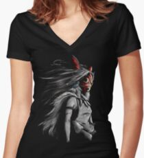 Mononoke Wolf Anime Tra Digital Painting Women's Fitted V-Neck T-Shirt