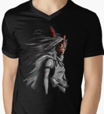 Mononoke Wolf Anime Tra Digital Painting Men's V-Neck T-Shirt